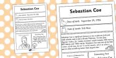 Sebastian Coe Significant Individual Fact Sheet