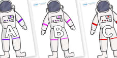 A-Z Alphabet on Astronaut