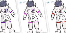 A-Z Alphabet on Astronaut