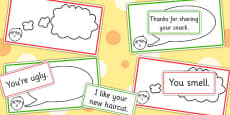 'Think It' Thought Bubbles And 'Say It' Speech Bubbles Colour Coded Sorting Activity