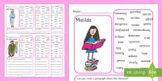 Description Writing Frames to Support Teaching on Matilda