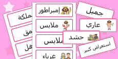 The Emperors New Clothes Word Cards Arabic