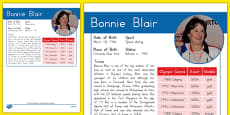 USA Olympians Bonnie Blair Fact File