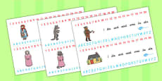 Little Red Riding Hood Combined Number and Alphabet Strips