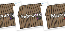 Months of the Year on Wooden houses