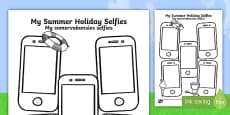 Summer Holiday Selfies Writing Template English/Afrikaans
