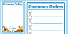 Restaurant Role Play Note Pad