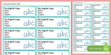 Pupil English Copybook Labels