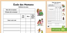 * NEW * Feuille d'activités : Le bulletin de notes - La fête des mères