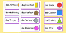 2D Shape Word Cards German