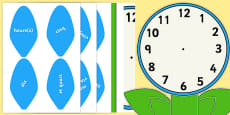 Analogue Clock Flower Labels Words French