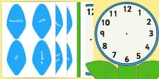 Étiquettes de mots pour horloge analogique en forme de fleur