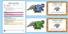 EYFS Fire Breathing Dragon Finger Gym Plan And Prompt Card Pack