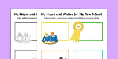Hopes and My New School Secondary SEN Activity Sheet Polish Translation