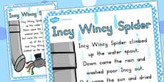 Incy Wincy Spider Nursery Rhyme Poster A4 (Australia)