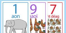 Visual Number Line 0 to 20 Display Posters Gaeilge