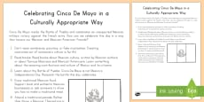* NEW * Celebrating Cinco De Mayo in a Culturally Responsive Way Checklist