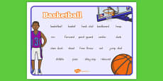 Basketball Vocabulary Mat