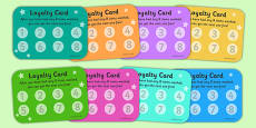 Laundrette Role Play Loyalty Cards