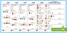 Addition With Money Differentiated Activity Sheets Arabic/English