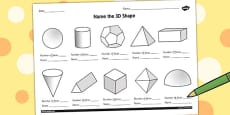 Name the 3D Shape Year 6 Activity Sheet