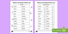 * NEW * Phonics Screening Practice Homework List