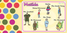 Character Word Mat to Support Teaching on Matilda