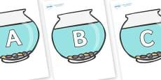 A-Z Alphabet on Fish Bowls