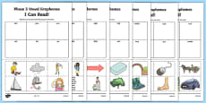 I Can Read! Words Using Phase 3 Vowel Graphemes Words Activity Sheet