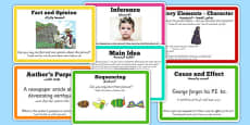 Guided Reading Skills Task Cards Arabic Translation