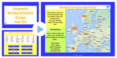Year 3-4 Europe Geography Morning Activities PowerPoint