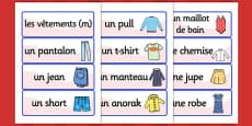 French Clothes Vocabulary Cards