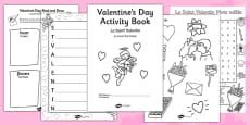 Valentine's Day Themed Activity Book French Translation