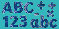 Electricity Themed Display Letters and Numbers Pack