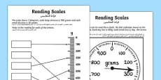 Reading Scales Activity Sheets Arabic Translation