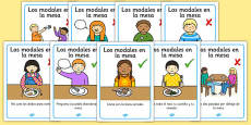 Table Manners Rules Display Posters Spanish