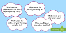 Fantasy Story Writing Questions Display Posters