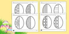 Easter Egg Symmetry Sheets Romanian