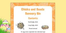 Chicks and Seeds Sensory Bin
