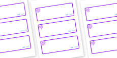 Purple Themed Editable Drawer-Peg-Name Labels (Blank)