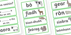 Animal Word Cards Scottish Gaelic