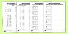 Multiplying 2 Digit Numbers by 2 Digit Numbers Using Grid Method Activity Sheet Pack