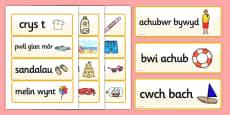 Seaside Word Cards Welsh