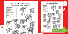 Christmas Present Colour And Roll Addition Activity English/Polish