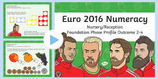 Euro 2016 Numeracy Nursery Reception Foundation Phase Profile Outcome 2 to 4 PowerPoint