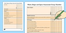 1999 Curriculum Senior Infants Maths Shape and Space Assessment Group Checklist