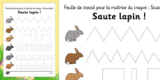 Bunny Hop Pencil Control Activity Sheets French