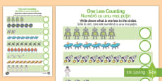 * NEW * Space Themed One Less Counting Activity Sheet - English / Romanian