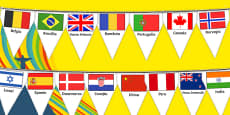 Rio Olympics 2016 Country Flags Bunting Romanian