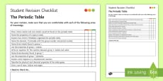 * NEW * The Periodic Table Student Revision Checklist